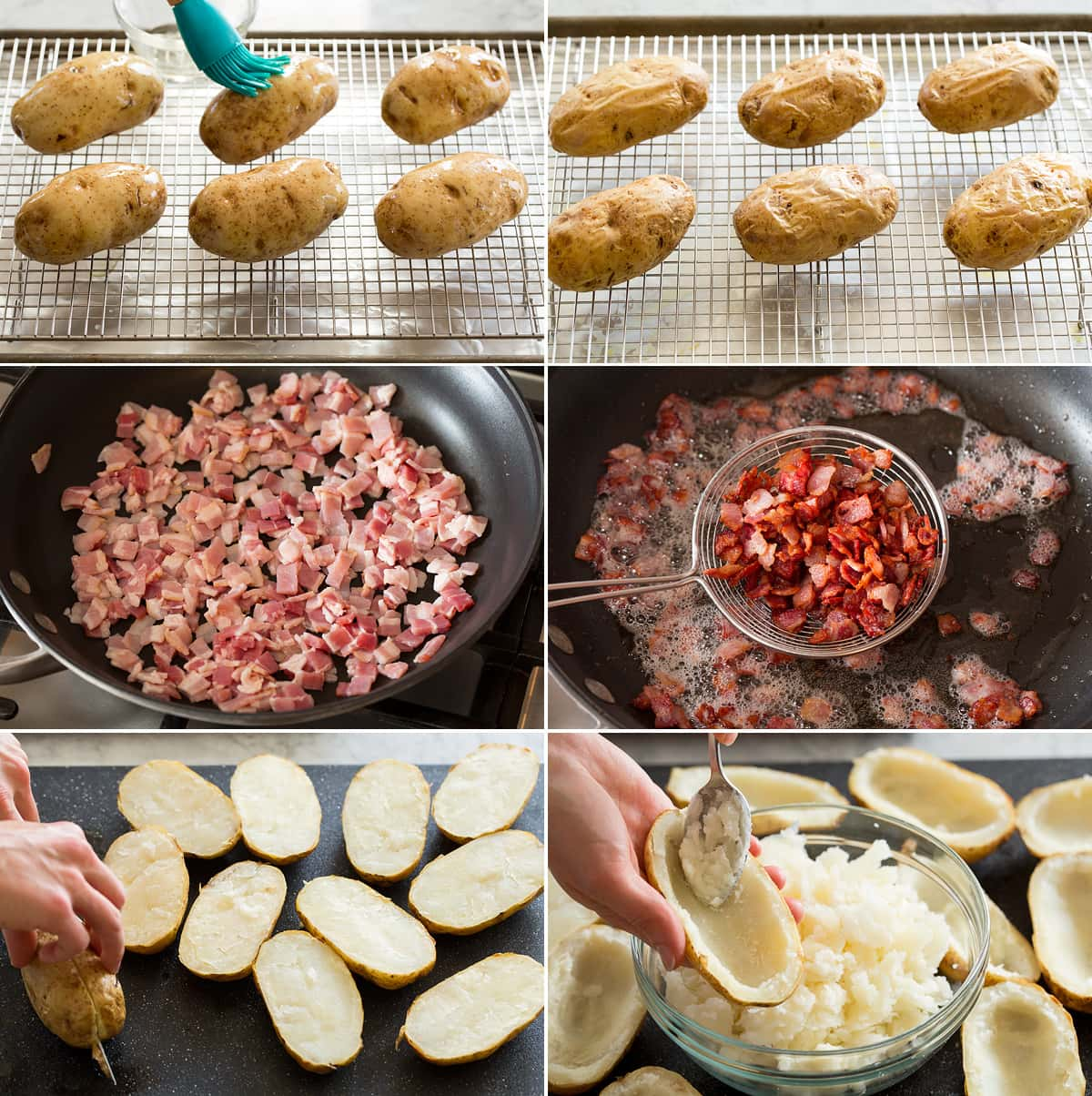 Collage of six images showing first six steps of making potato skins. Includes brushing potatoes with oil, shows after baking. Then diced bacon shown before and after cooking in skillet. Last photos show halving baked potatoes and scooping out flesh.