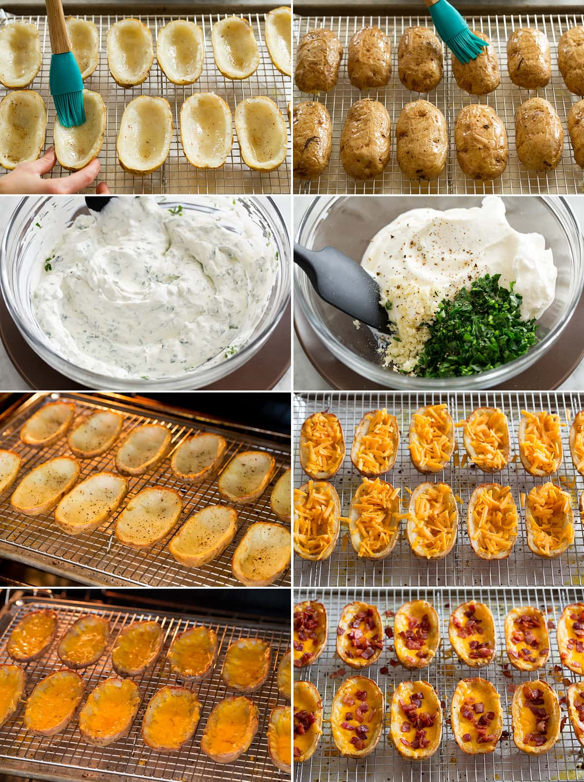 Collage of eight photos showing how to finish potato skins. Includes brushing both sides with rendered bacon fat. Mixing herbed sour cream ingredients. Baking the skins, filling with cheddar and bacon again. Then last finished with bacon.