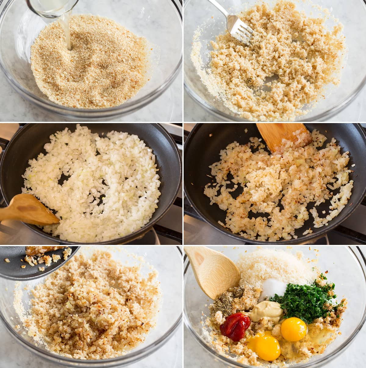 Collage of six photos showing first six steps of making turkey meatloaf. Shows mixing bread crumbs and chicken broth in a bowl. Sautéing onion and garlic in skillet. Adding onion mixture to crumb mixture along with eggs and flavoring ingredients.
