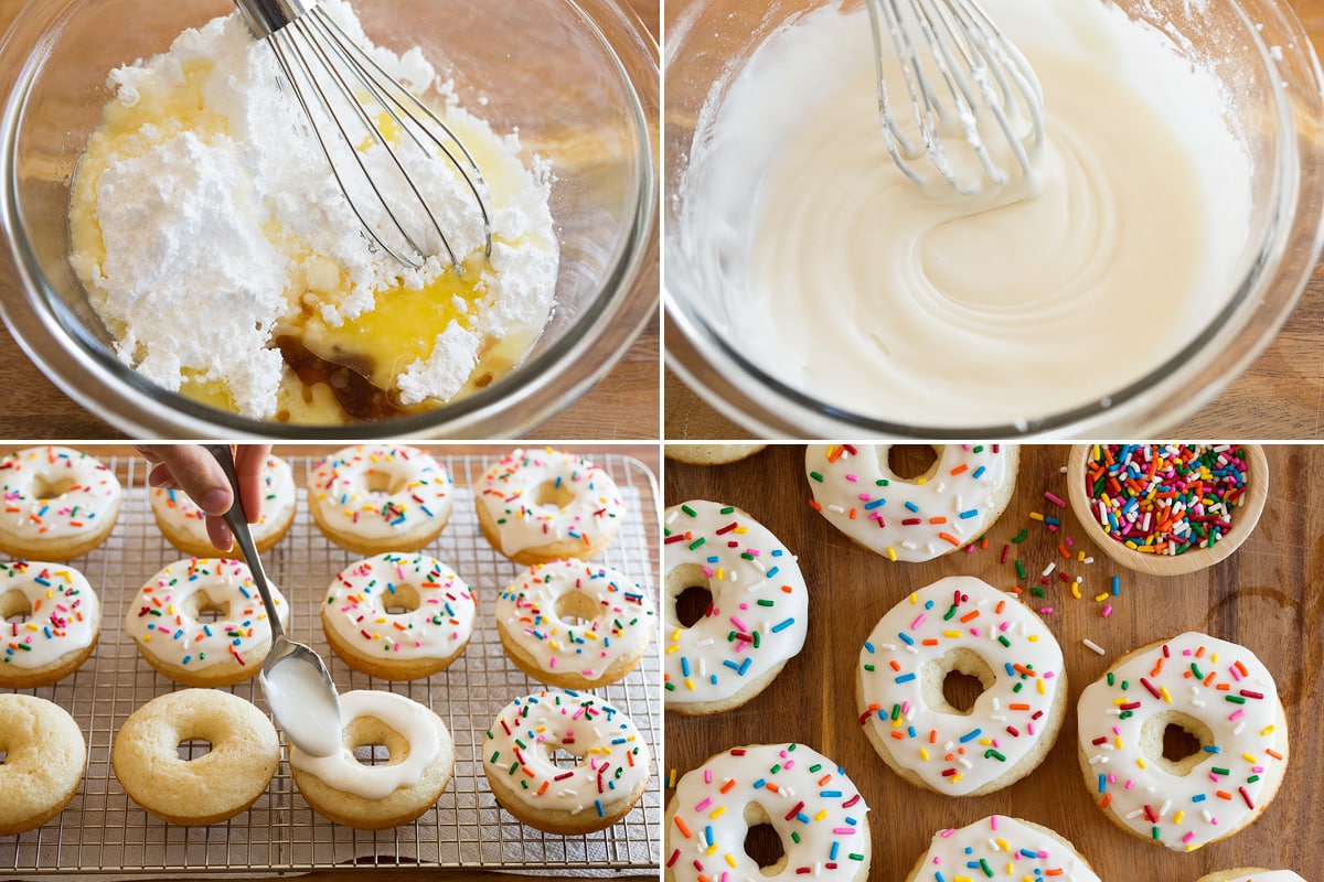 Collage of four photos showing how to make glaze for donuts then spread over baked donuts.