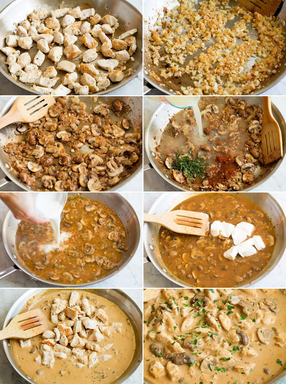 Collage of eight photos showing steps of making chicken stroganoff in a skillet. Shows browning chicken, then onions, then mushrooms. After that includes adding liquids and cream cheese for sauce then mixing chicken back in.