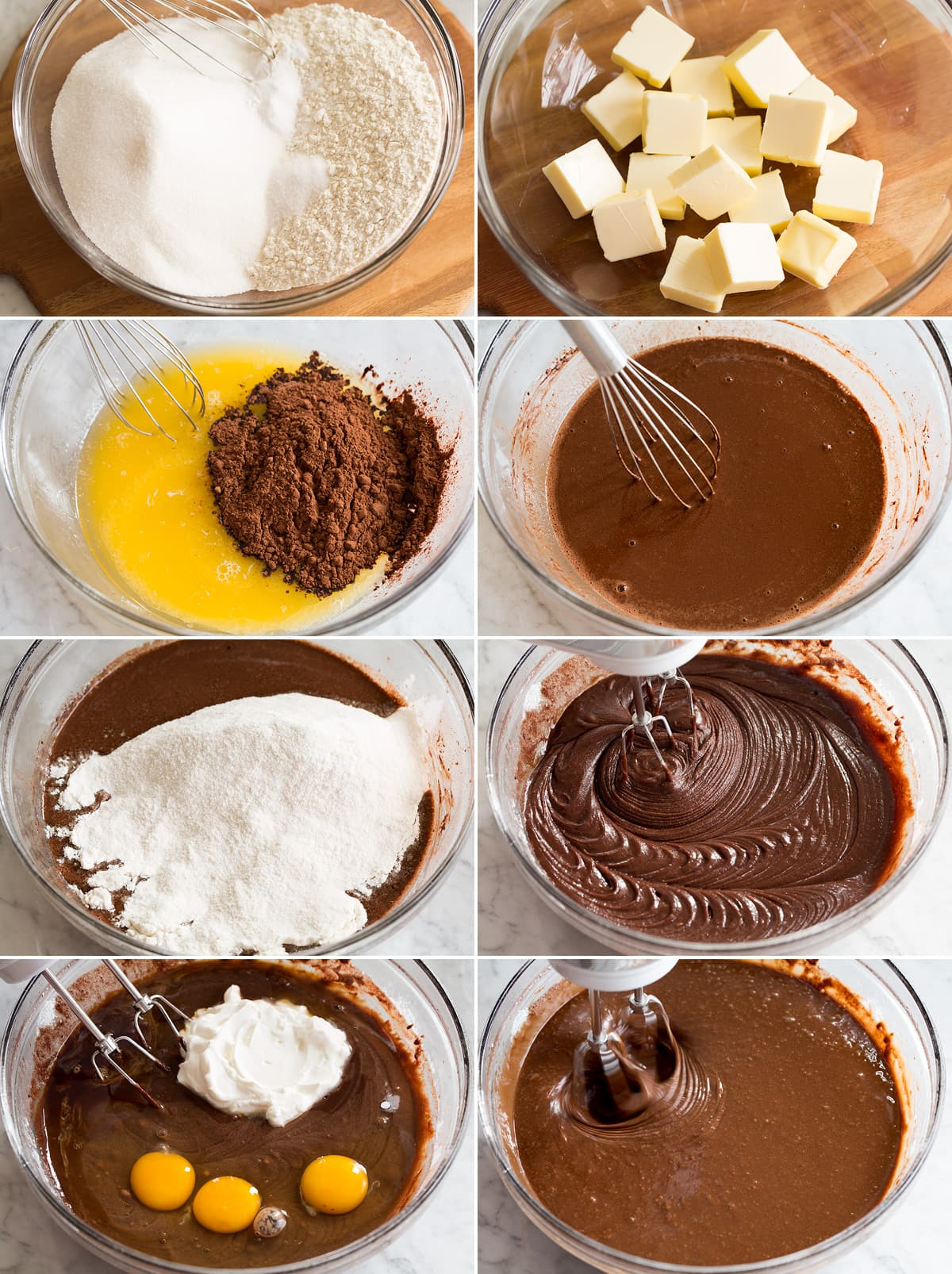 Collage of eight photos showing steps to make bundt cake batter.