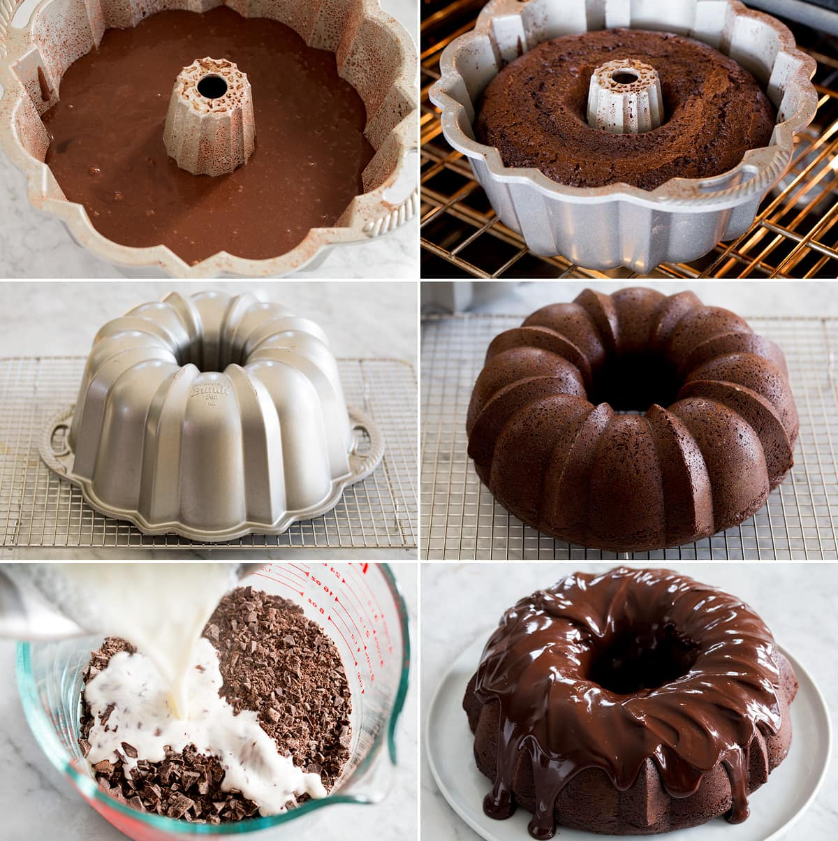 Collage of six photos showing how to bake chocolate bundt cake, invert, then make and top with ganache.