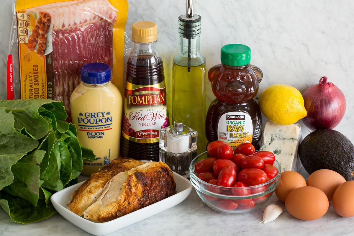 Photo of ingredients used in cobb salad and cobb salad dressing.