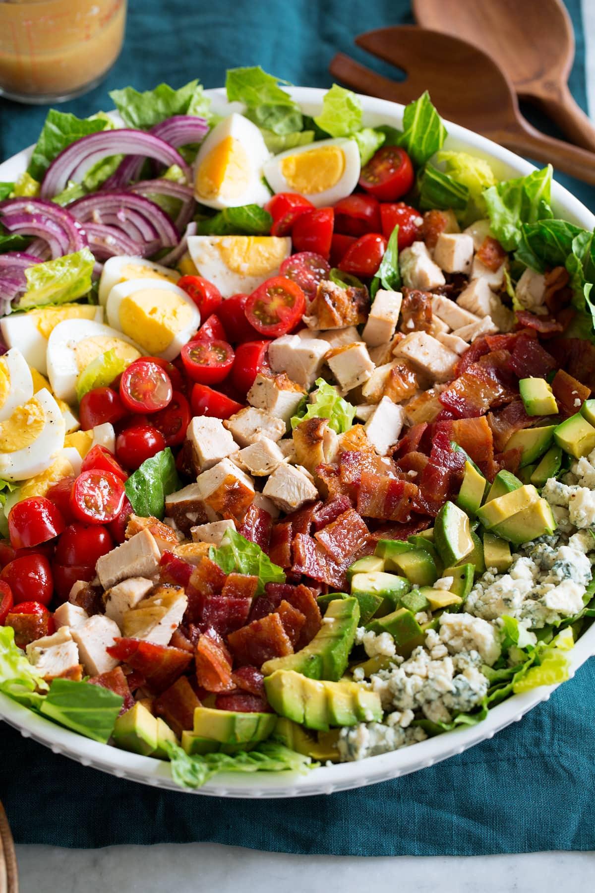 Close up photo of cobb salad.