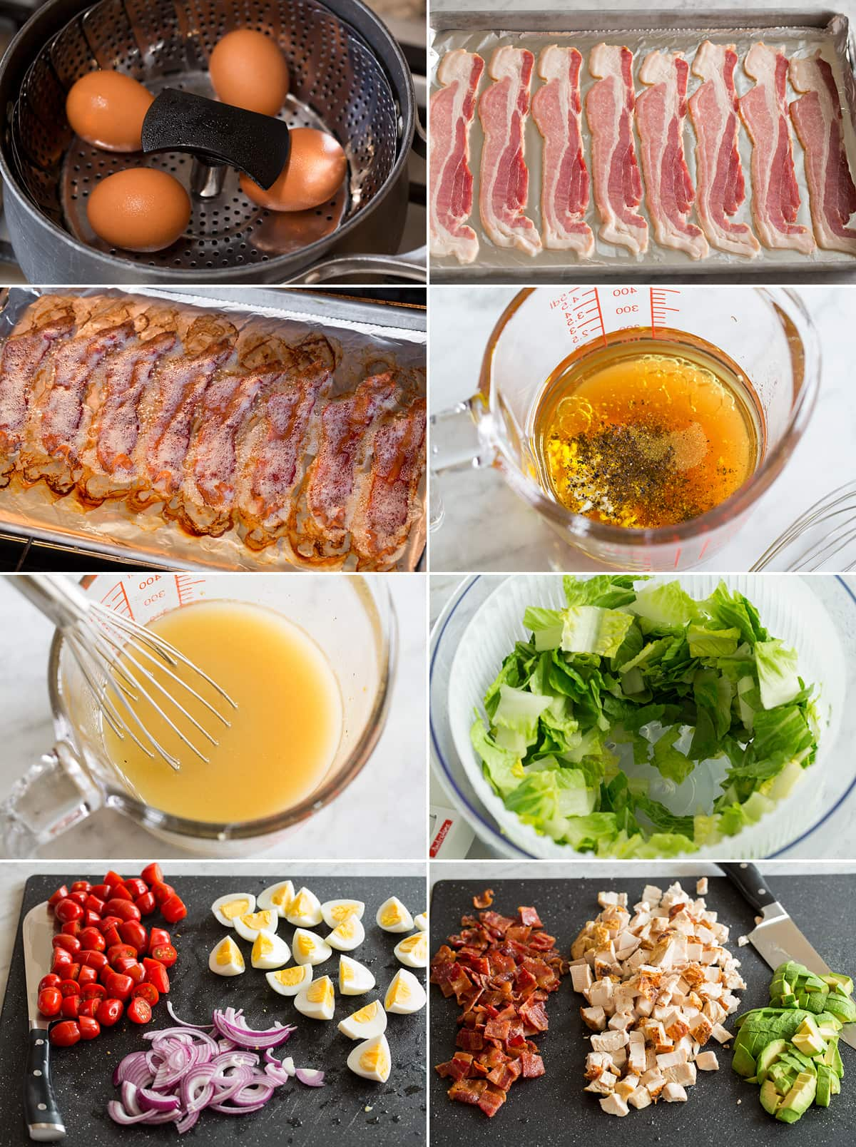 Collage of eight images showing how to cook eggs and bacon for cobb salad. Also shows making dressing and chopping salad ingredients.