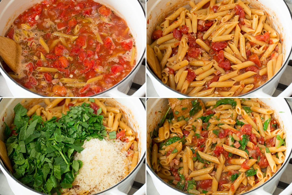 Photo showing collage of four images with remaining steps to preparing one pot pasta. Shows pasta simmering with liquids, then once cooked. Next includes adding spinach, basil and parmesan and last the finish pasta is shown.