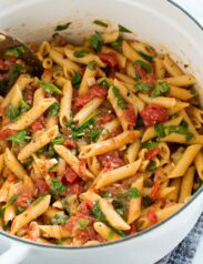 One Pot Pasta with tomatoes, basil, spinach and parmesan.