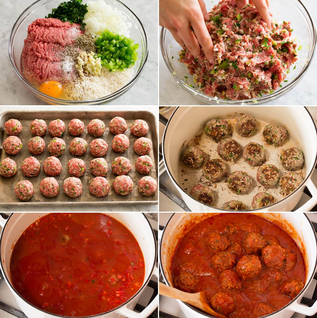 Photo of steps showing how to make porcupine meatballs. Shows meatball mixture before and after shaping. Shown in rounds on a baking sheet. Then browning and covered with sauce.