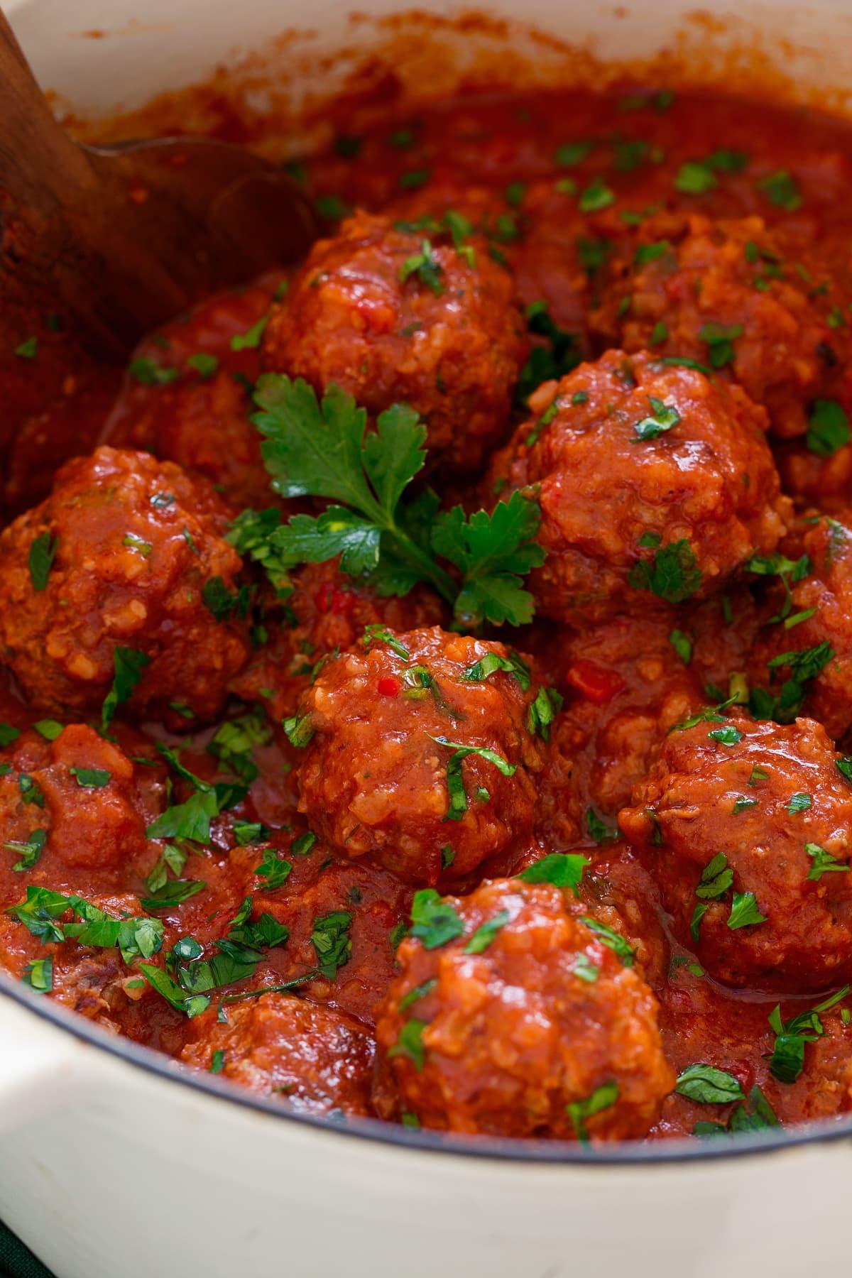 Close up photo of Porcupine Meatballs.