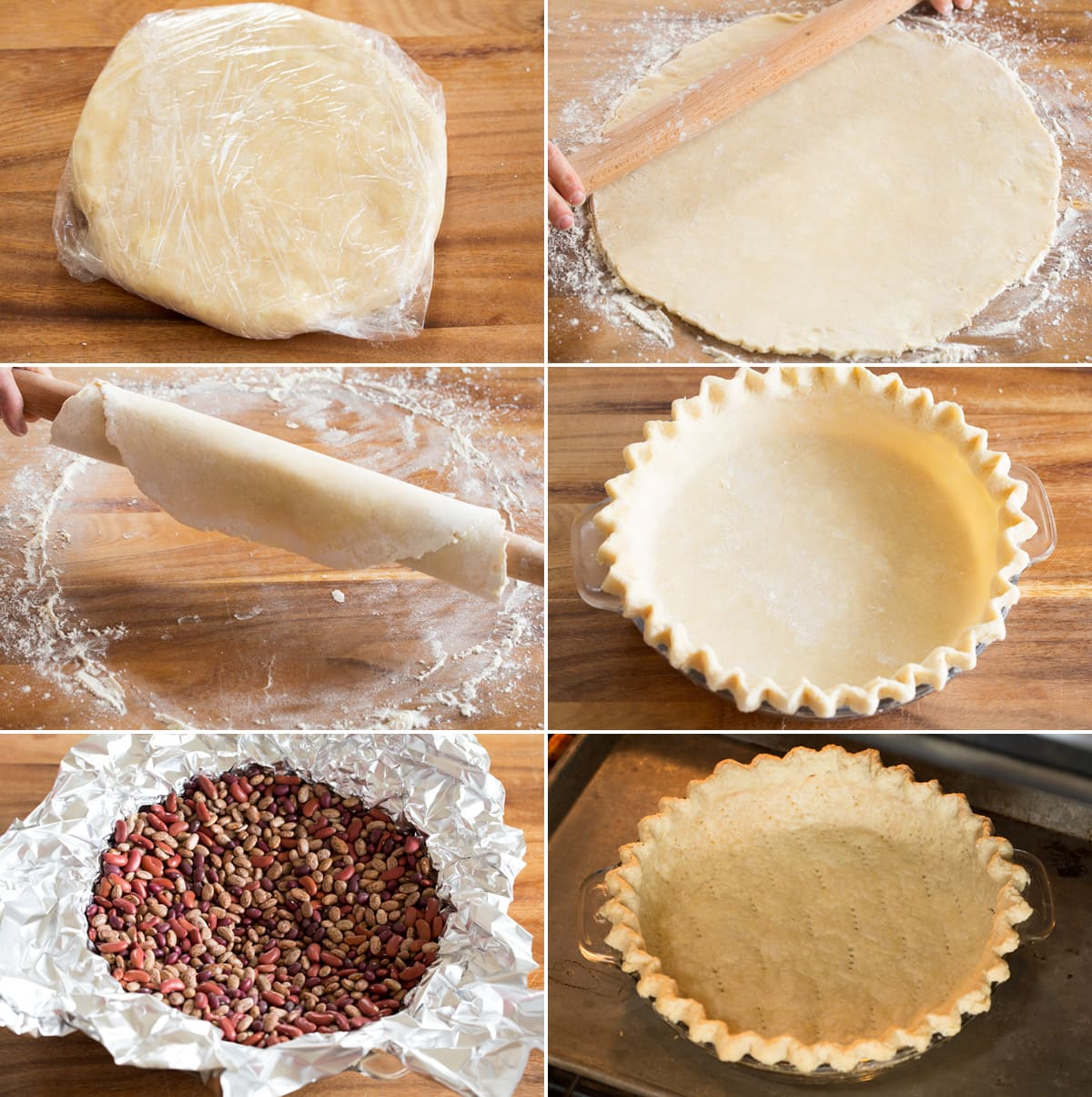 Collage of six photos showing how to shape and blind bake quiche crust in pie pan.