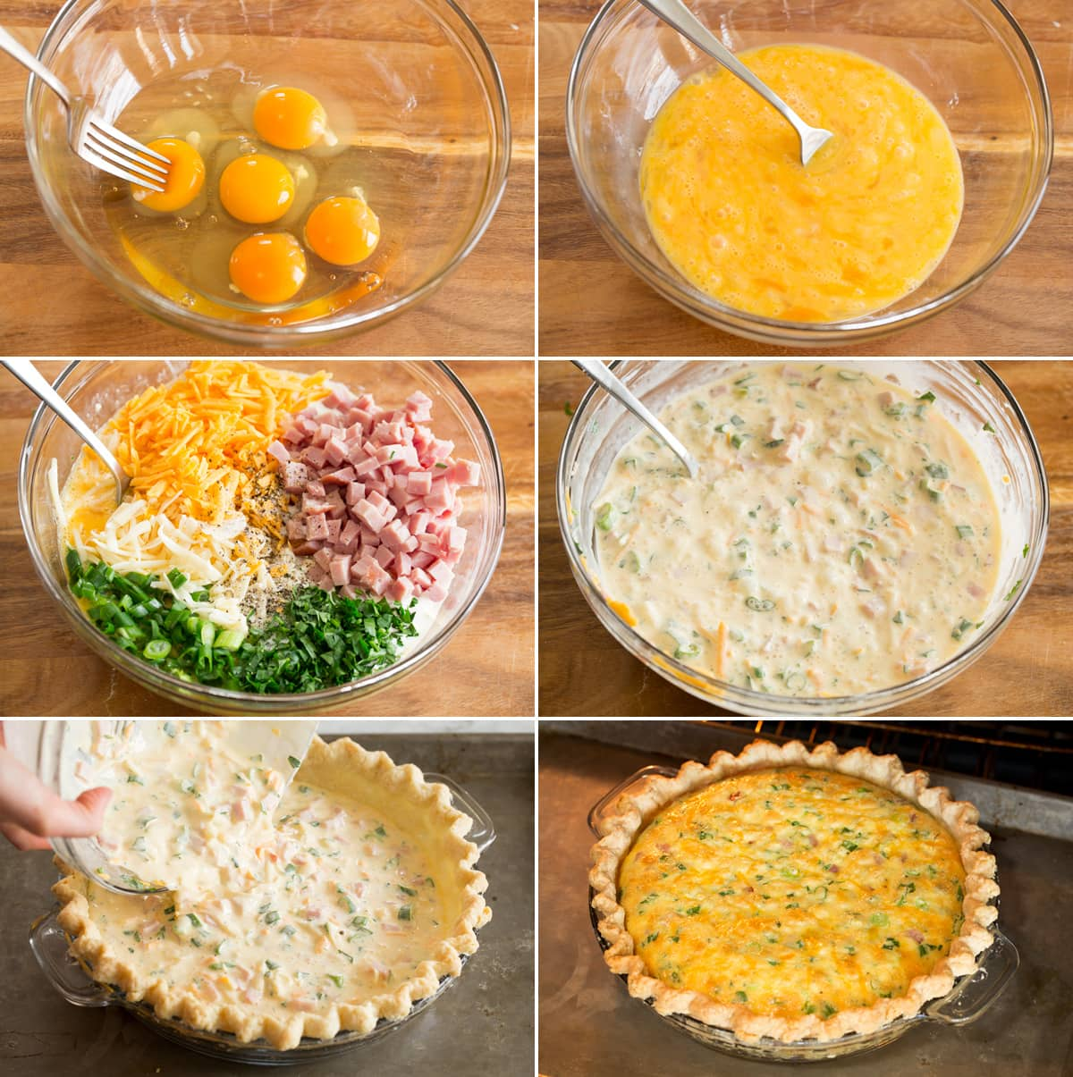 Collage of six photos showing how to make quiche filling and bake in crust.