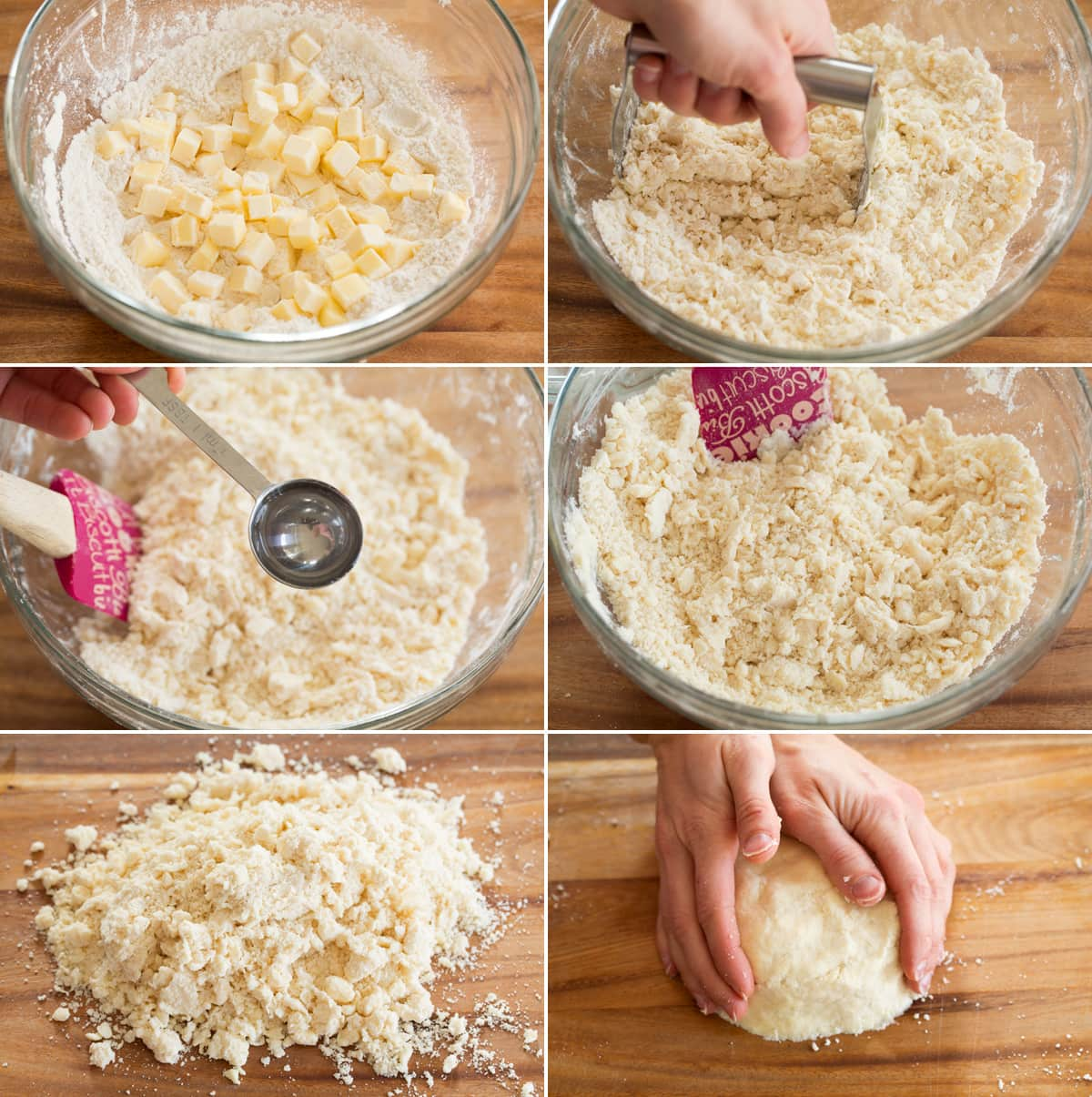 Collage of six photos showing steps to preparing quiche crust dough.