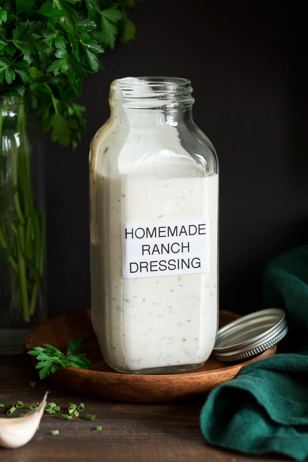 Jar of homemade Ranch Dressing.