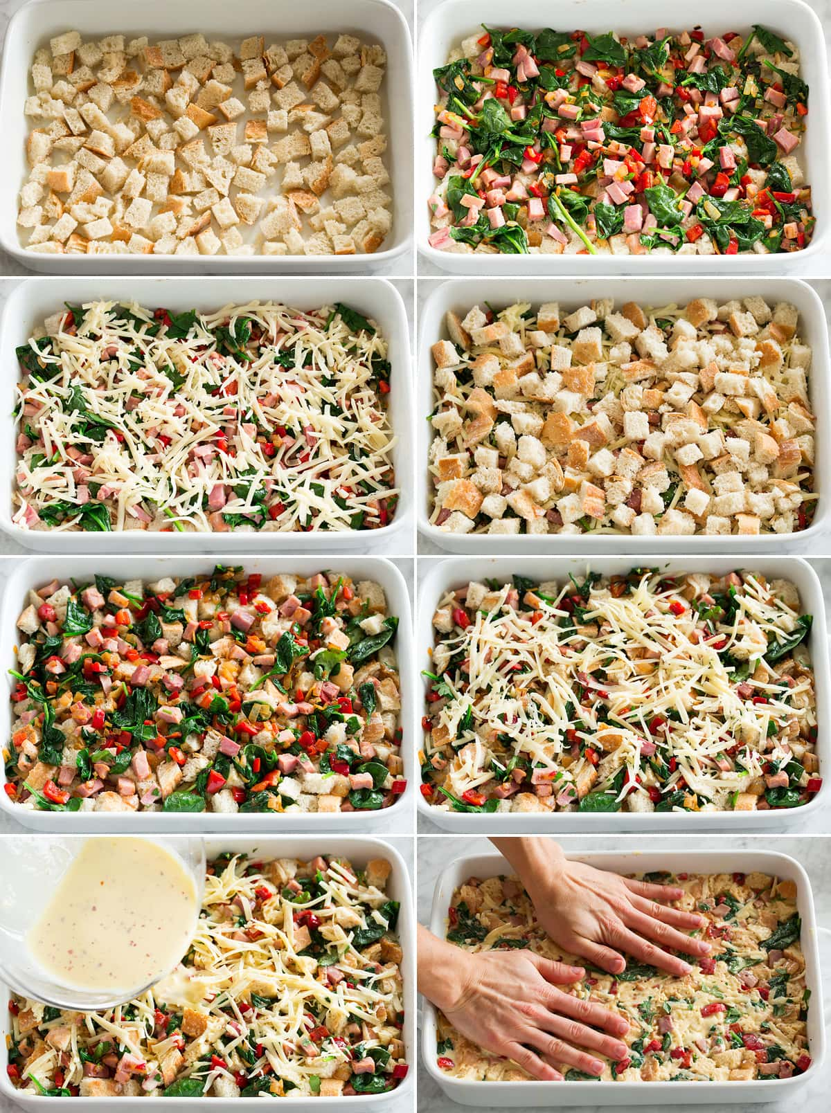 Collage of eight photos showing how to layer a strata in a casserole dish.