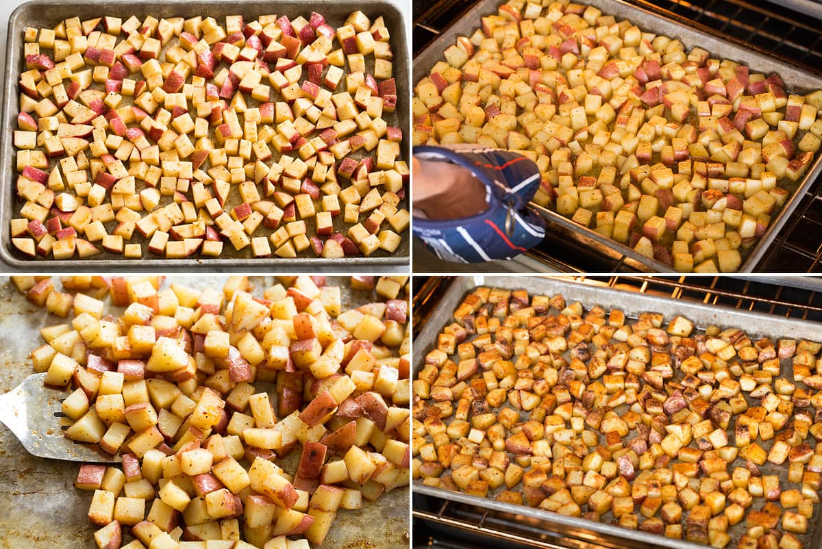 Photo: Breakfast Potatoes shown in oven, being tossed then being broiled.