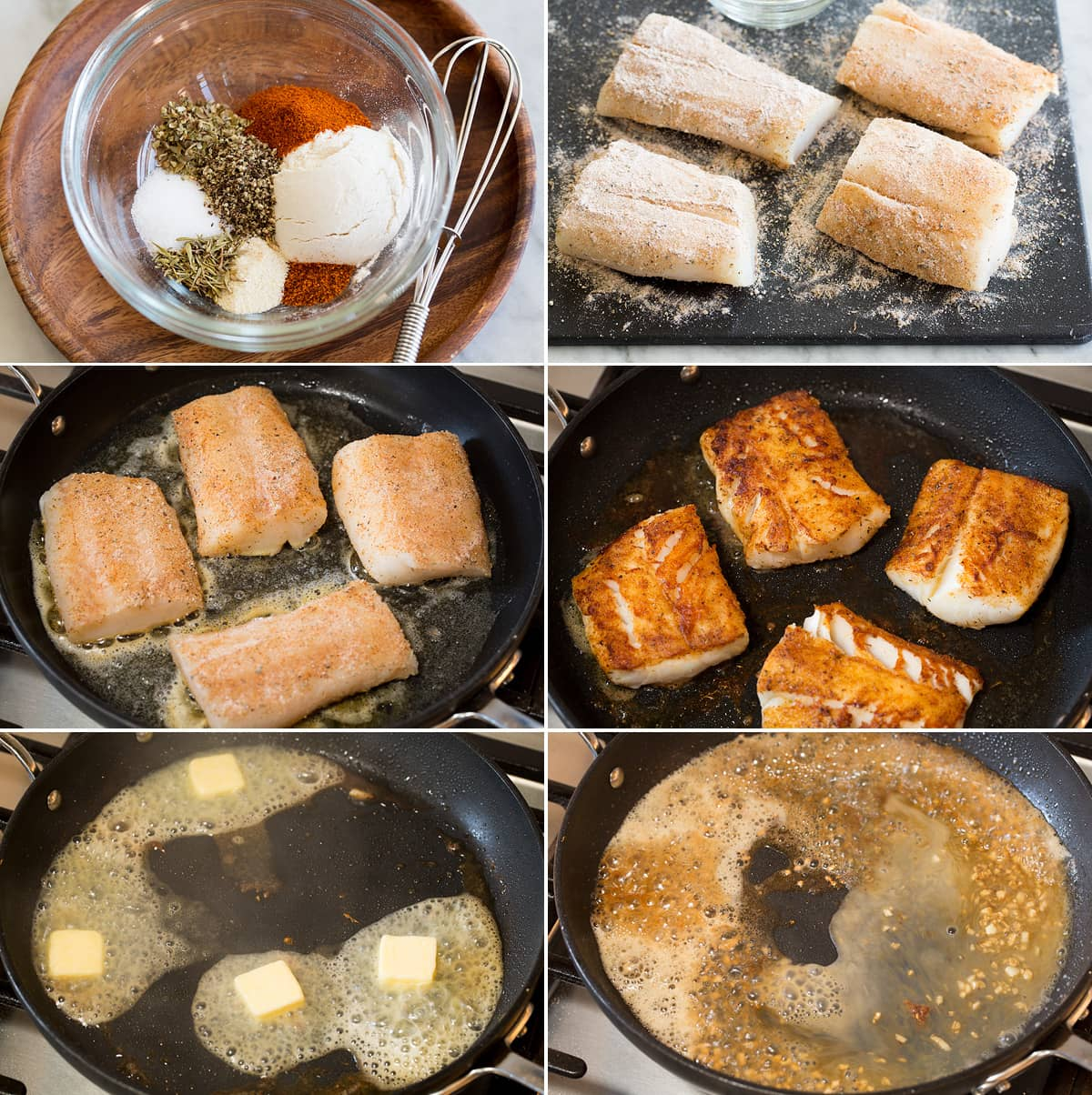 Collage of six photos showing how to make a cod recipe. Shows seasoning cod, searing in a skillet, and cooking a sauce in skillet after.