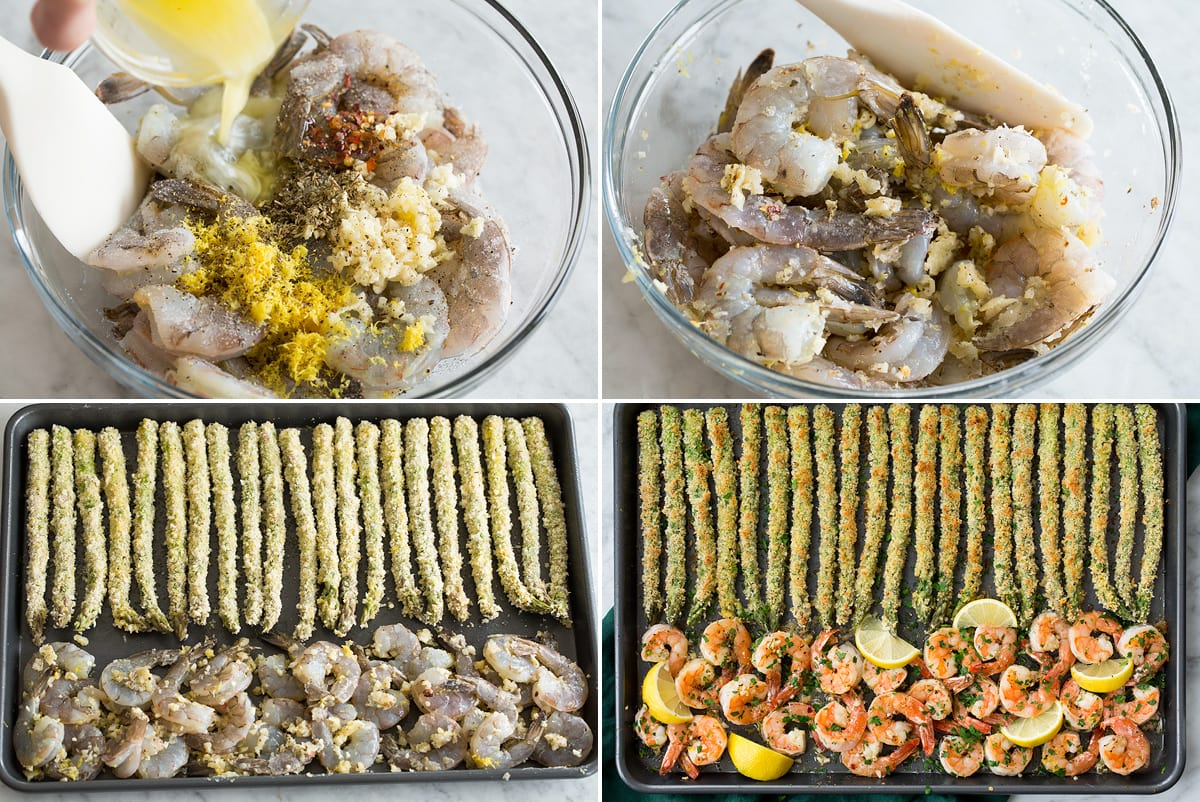 Collage of four images showing how to prepare lemon garlic shrimp and aligning on baking sheet with asparagus.