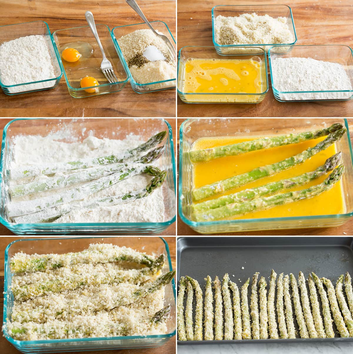Collage of six images showing how to make panko crusted asparagus.
