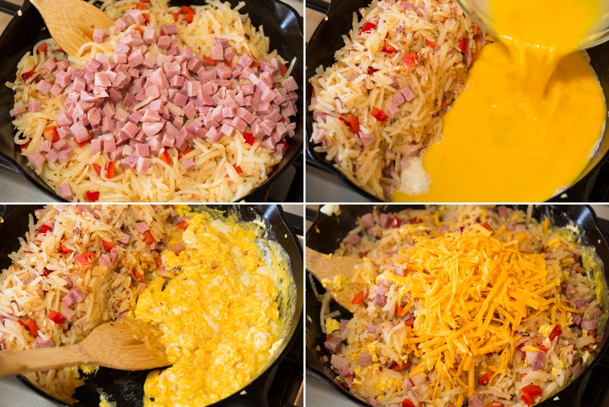 Collage of four photos showing continued steps to making breakfast hash in a cast iron skillet.