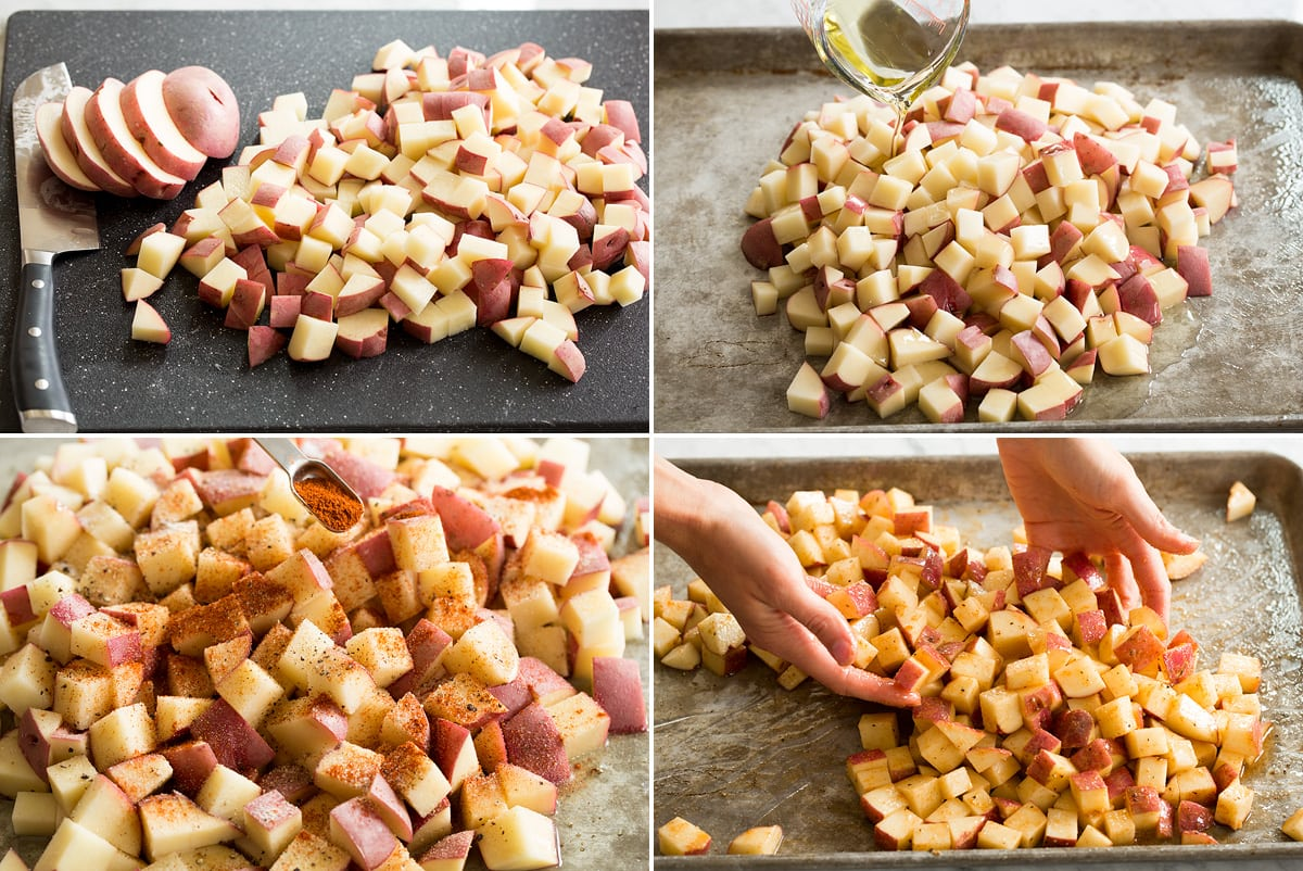 Photo: Shows four steps to preparing breakfast potatoes. Includes dicing, drizzling with oil, sprinkling with seasonings and tossing on sheet pan.
