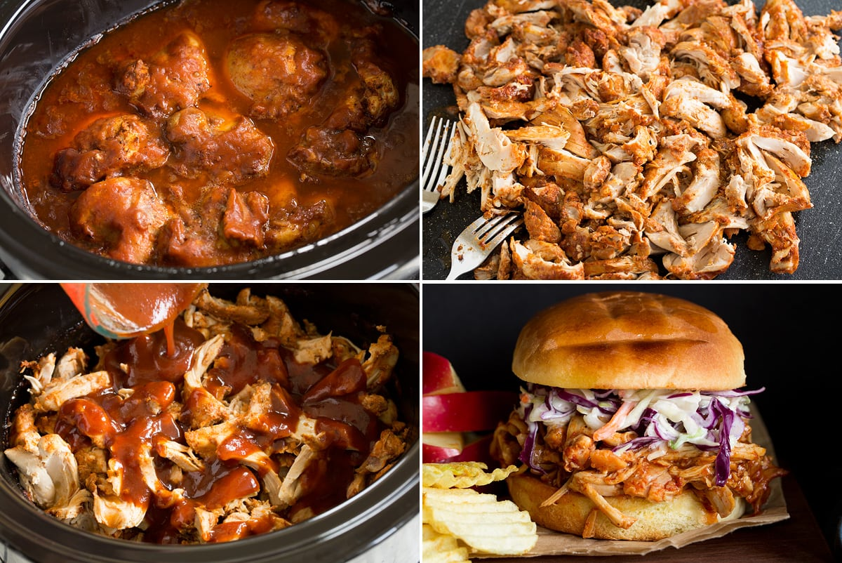 Photo: Collage of four images showing slow cooker bbq chicken after cooking, then shredding, followed by finishing with more sauce. Then last shows a completed pulled chicken sandwich.