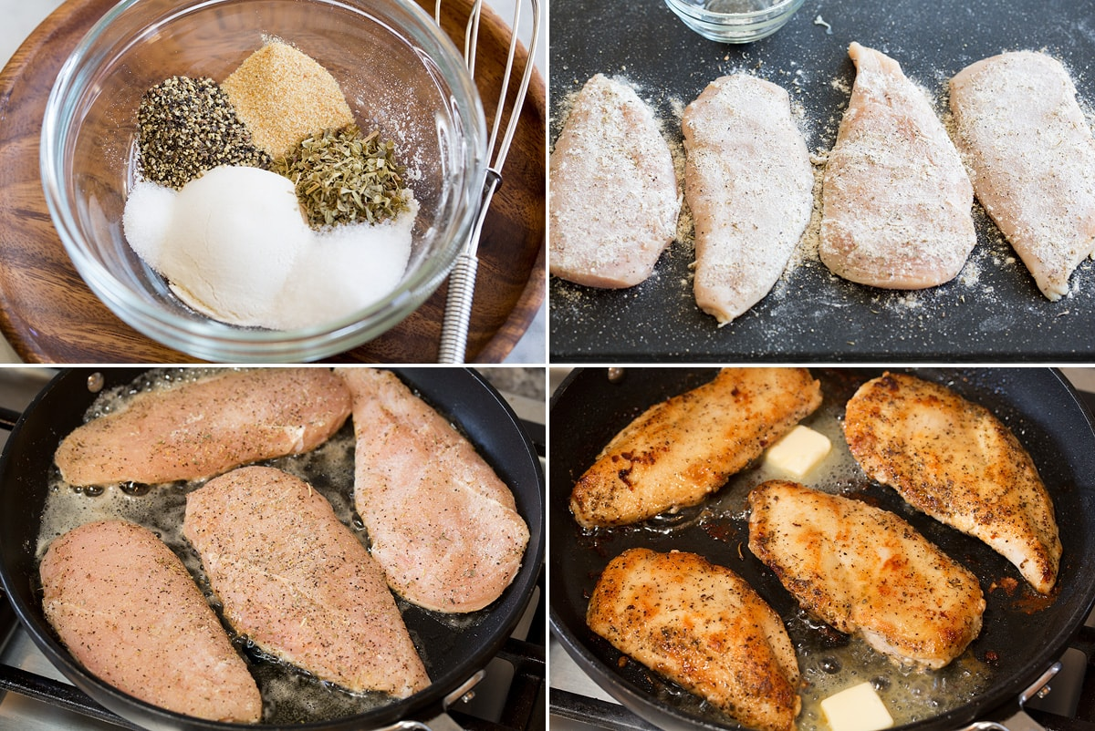 Collage of four photos showing steps to making lemon pepper chicken. Includes whisking seasoning in a bowl, coating chicken in seasoning, then searing chicken on both sides in the skillet.