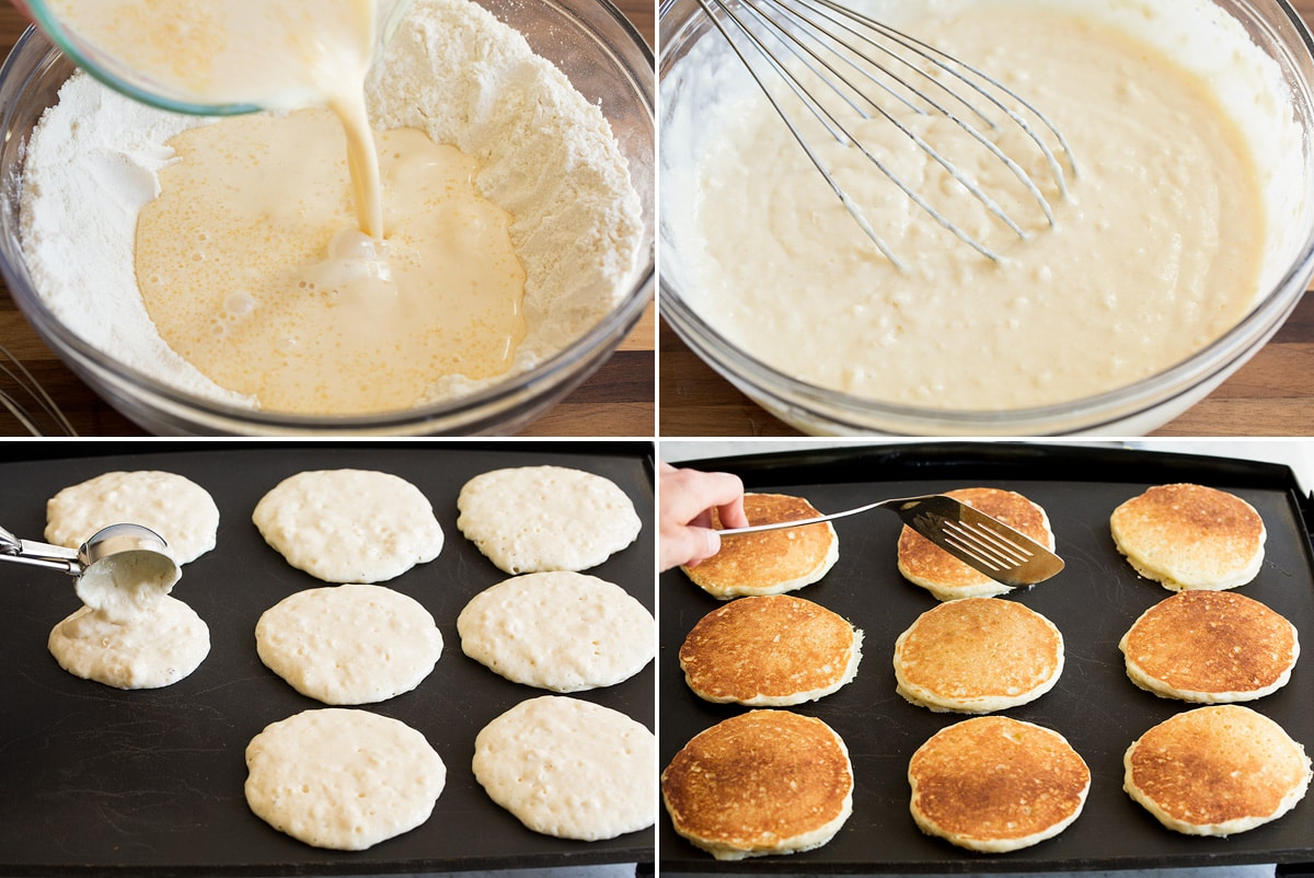 Collage of four photos showing how to blend pancake batter mixtures then cook pancakes on a griddle.