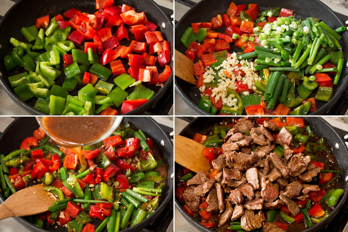 Photo: Collage of four images showing sauteing vegetables in a skillet then adding sauce, then steak.
