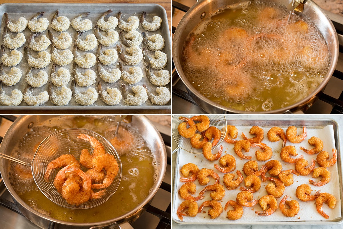 Photo: Collage of four images showing prepared shrimp before frying, then how to fry, then draining on paper towels.