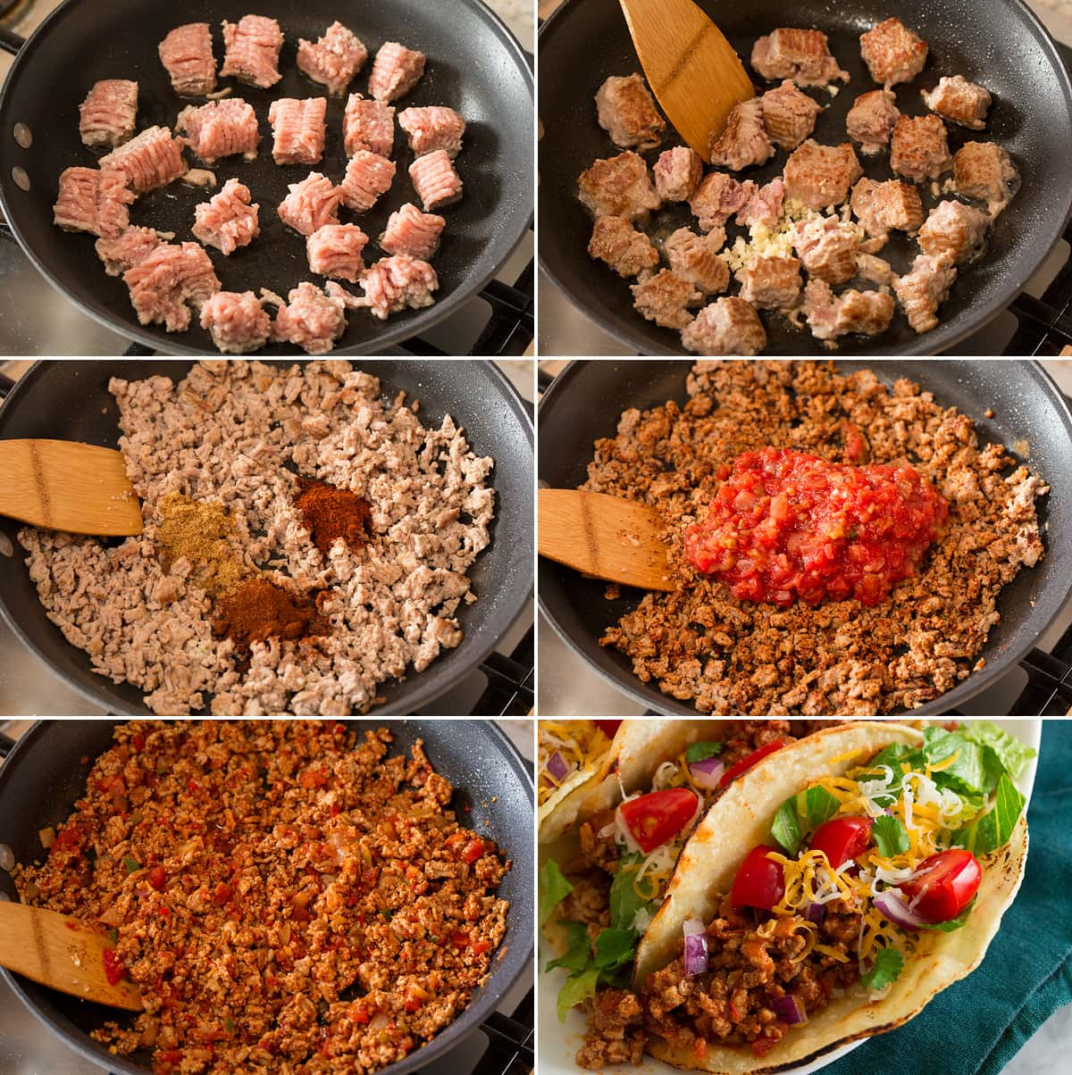 Collage of six photos showing steps to making turkey taco meat in skillet, then final image showing finished assembled taco.