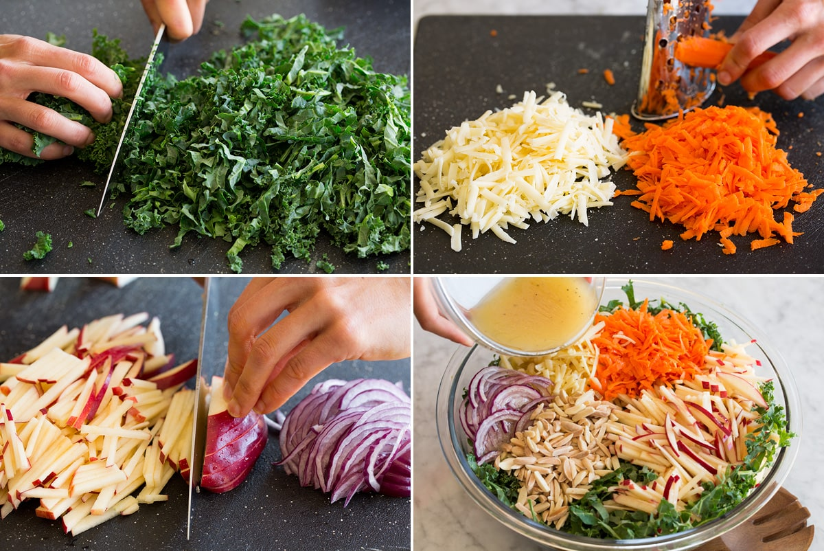 Collage of four photos showing how to thinly slice kale, shred carrots and cheddar, and slice apples into matchsticks. Then shows all salad ingredients in a bowl before tossing.