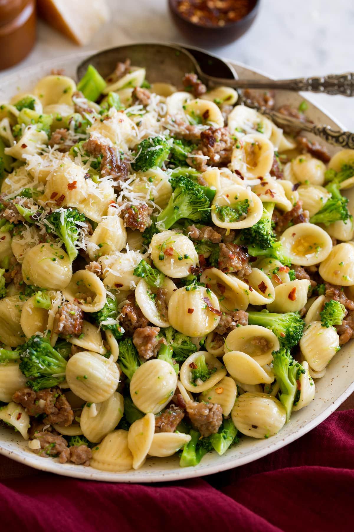 Photo: Orecchiette pasta with broccoli, Italian sausage and parmesan in a s olive oil sauce.