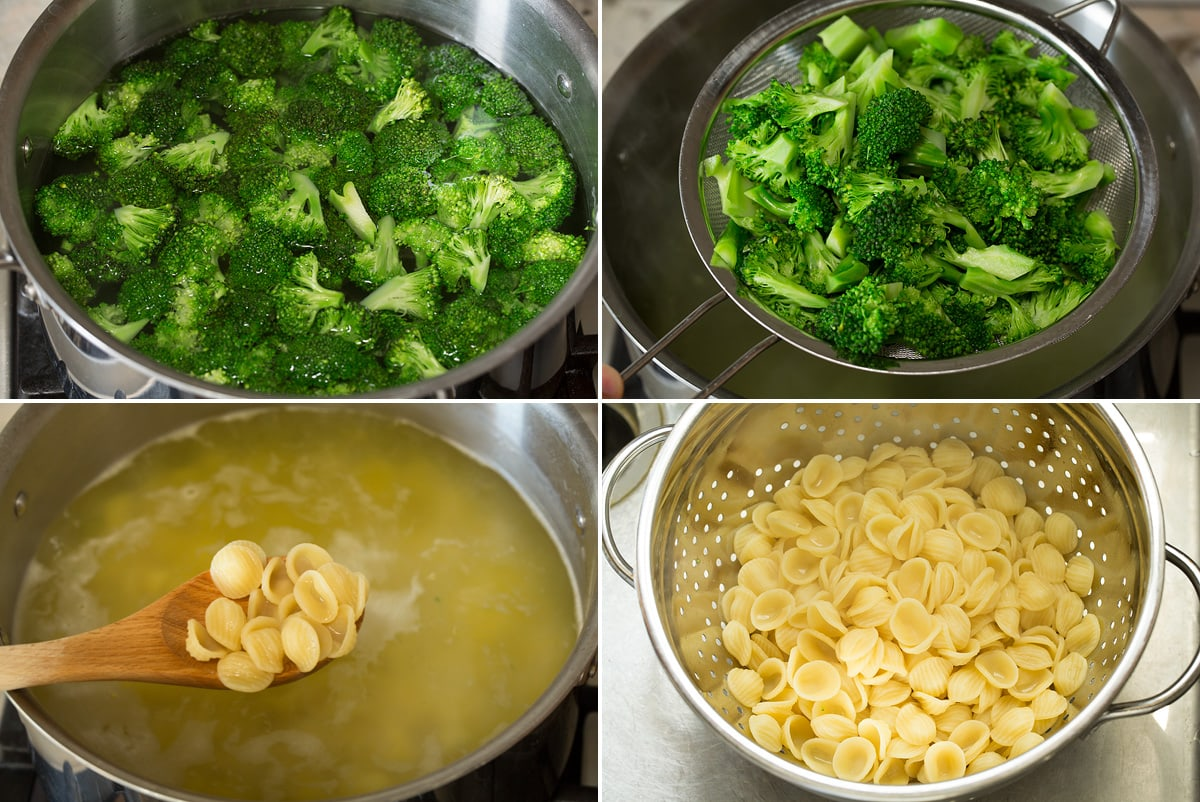 Photo: Collage of four images showing how to boil and drain broccoli and cook orecchiette pasta in boiling water in pot.