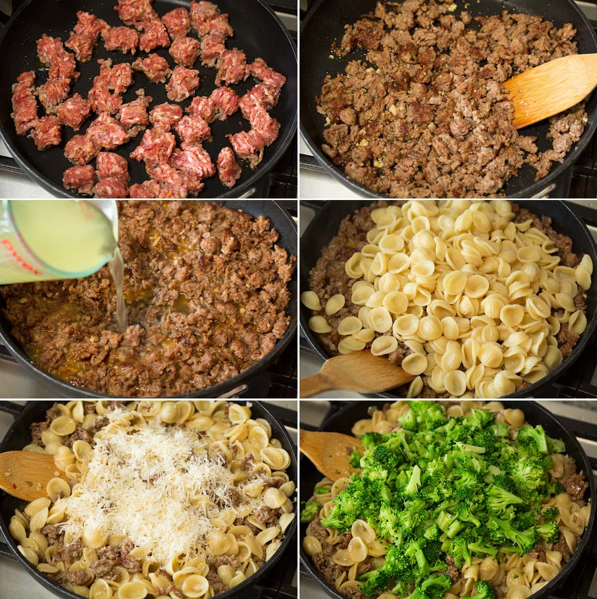 Photo: Collage of six images showing how to finish making orecchiette pasta recipe. Includes browning sausage in skillet, adding pasta water, adding cooked pasta, then parmesan and broccoli.