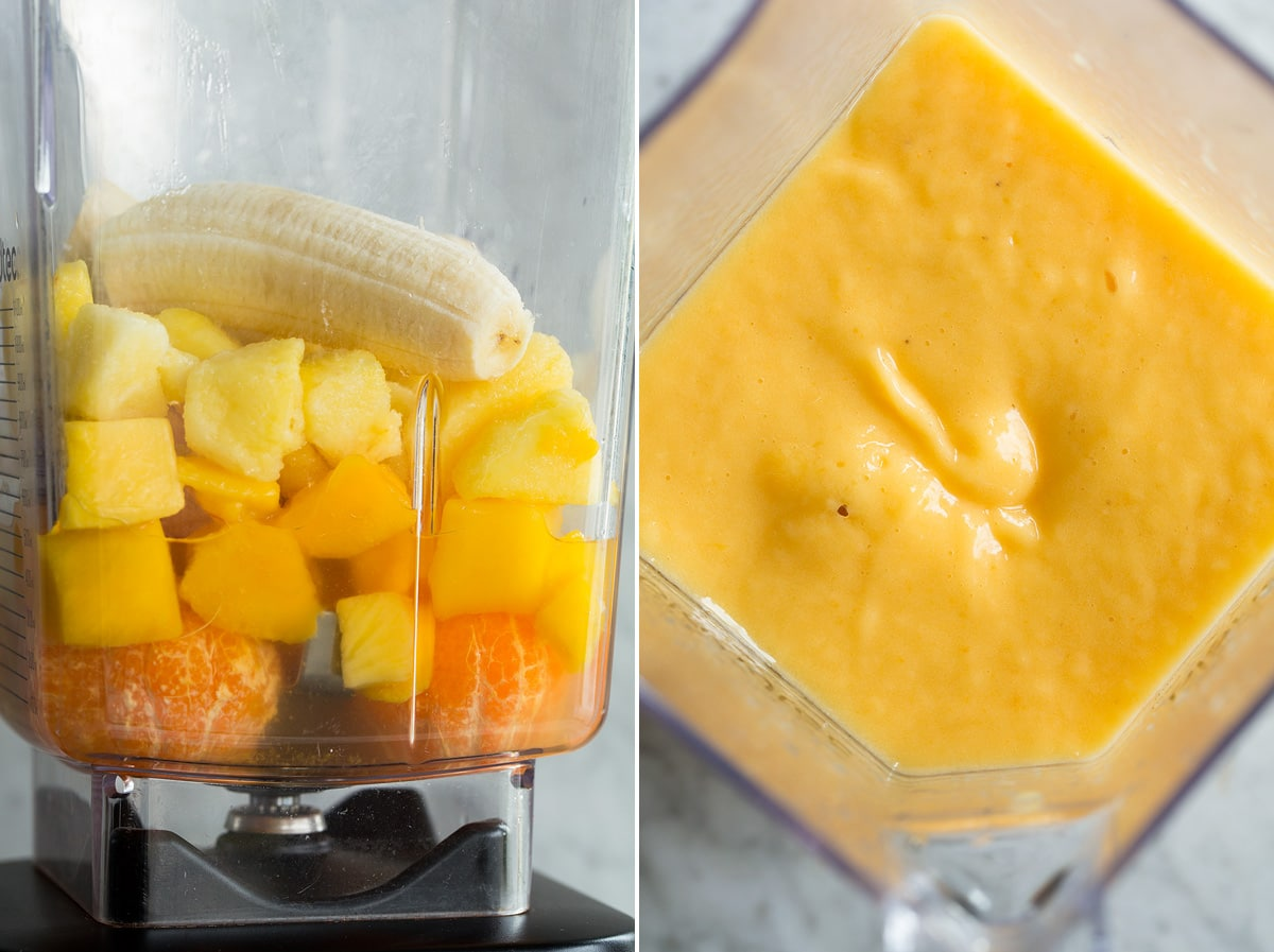 Photo: Two images showing how to make a smoothie in a blender.