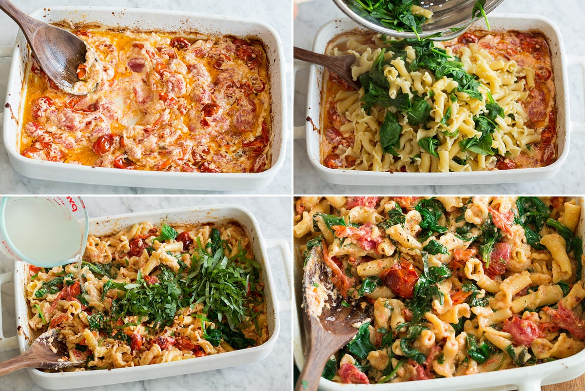 Collage of four photos showing steps to finish baked feta pasta. Includes mixing roasted tomatoes and feta, adding cooked pasta and spinach, thinning with pasta water and shows completed dish.