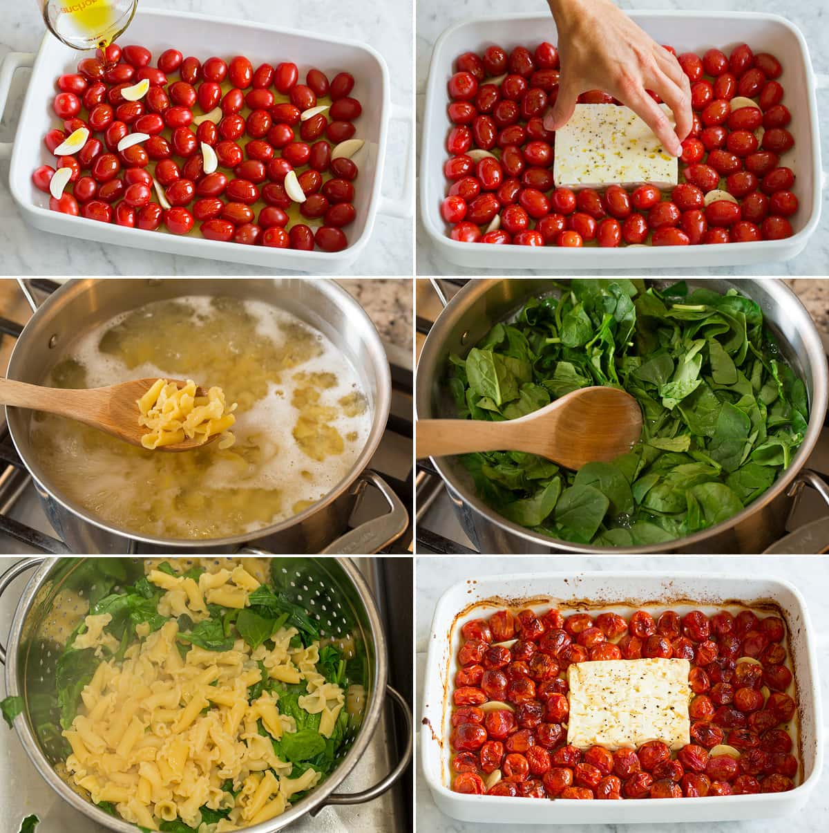Collage of six photos showing steps to roasting tomatoes and feta in a baking dish, and boiling pasta and spinach.
