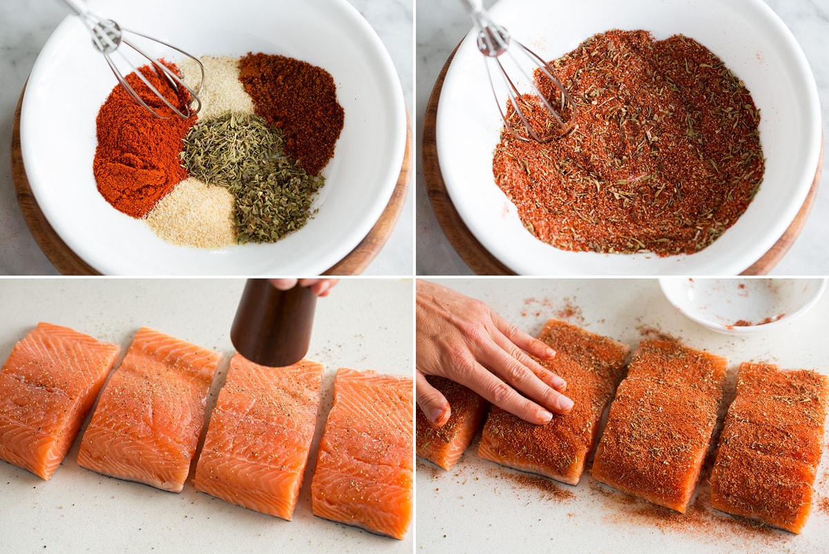 Collage of four photos showing process of making cajun spice seasoning for blackened salmon and spreading it over the fillets.