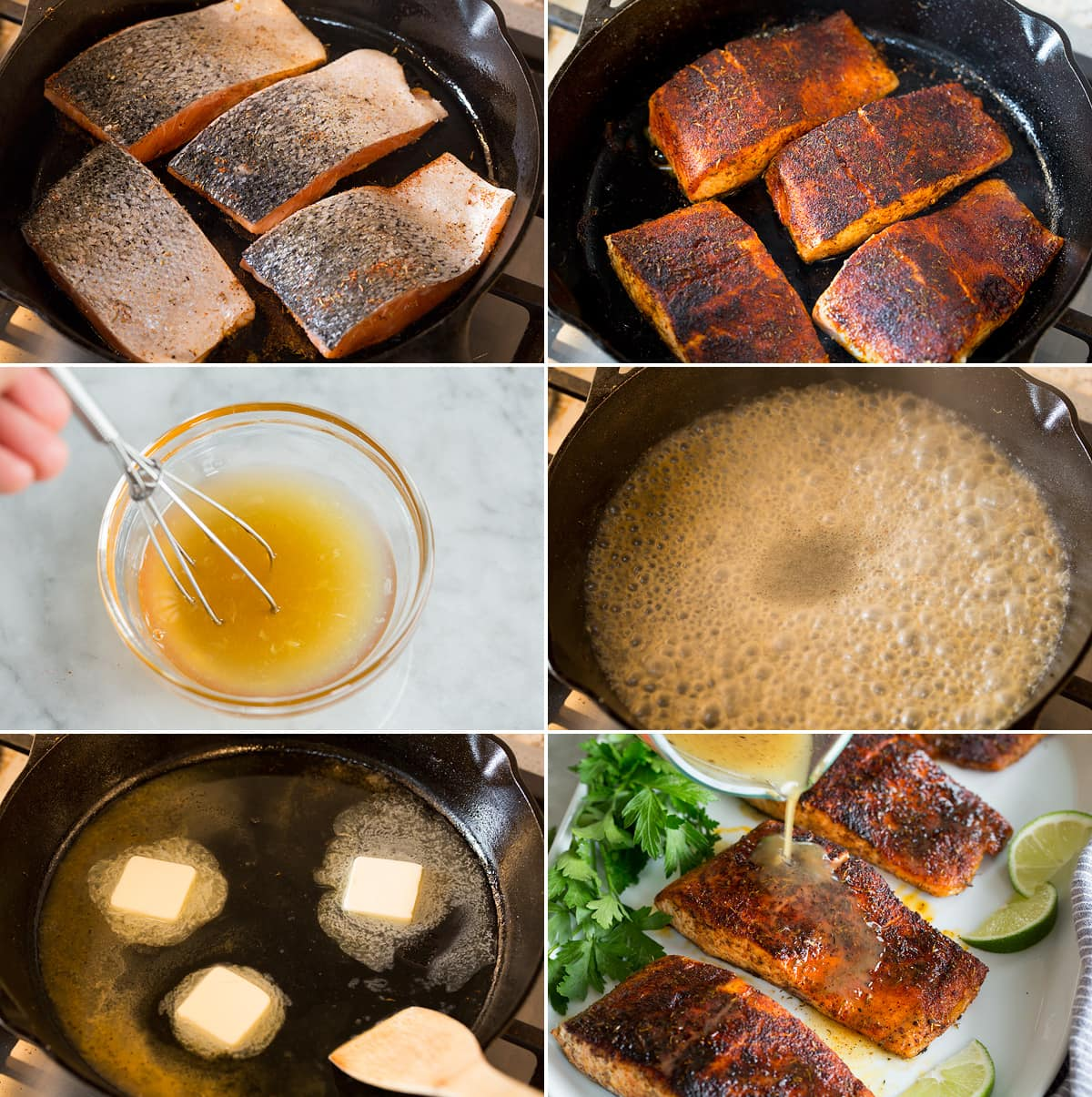 Collage of six images showing how to blacken salmon in skillet then making a honey lime sauce to serve atop.