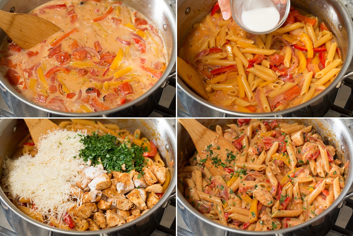 Collage of four continued photos of making cajun chicken pasta. Includes pasta boiling, pasta after cooking, adding remaining ingredients and the finished product.