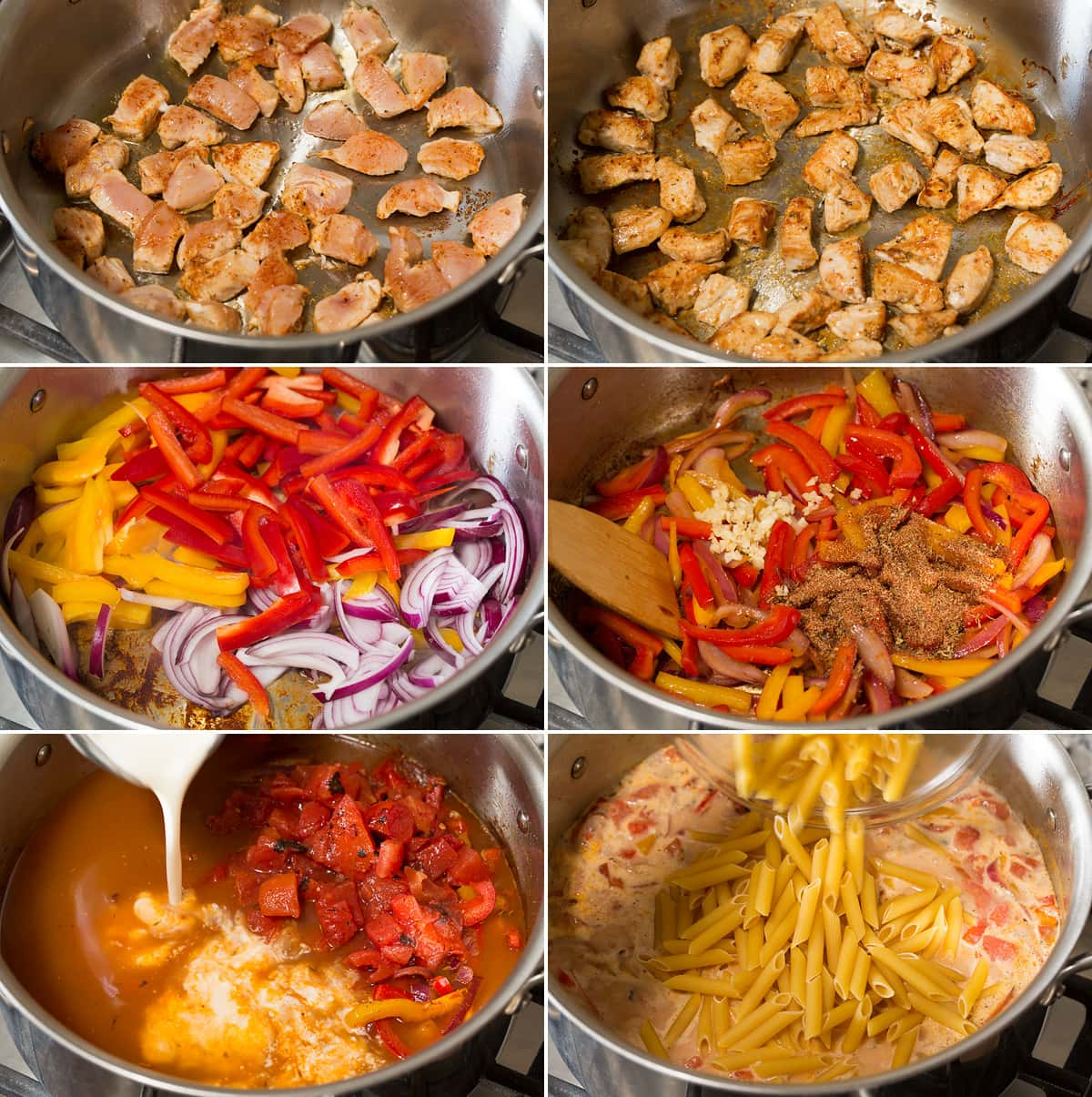 Photo: Collage of six images showing steps of browning chicken in pot, sautéing vegetables, adding liquid and pasta to pot for a cajun chicken pasta recipe.