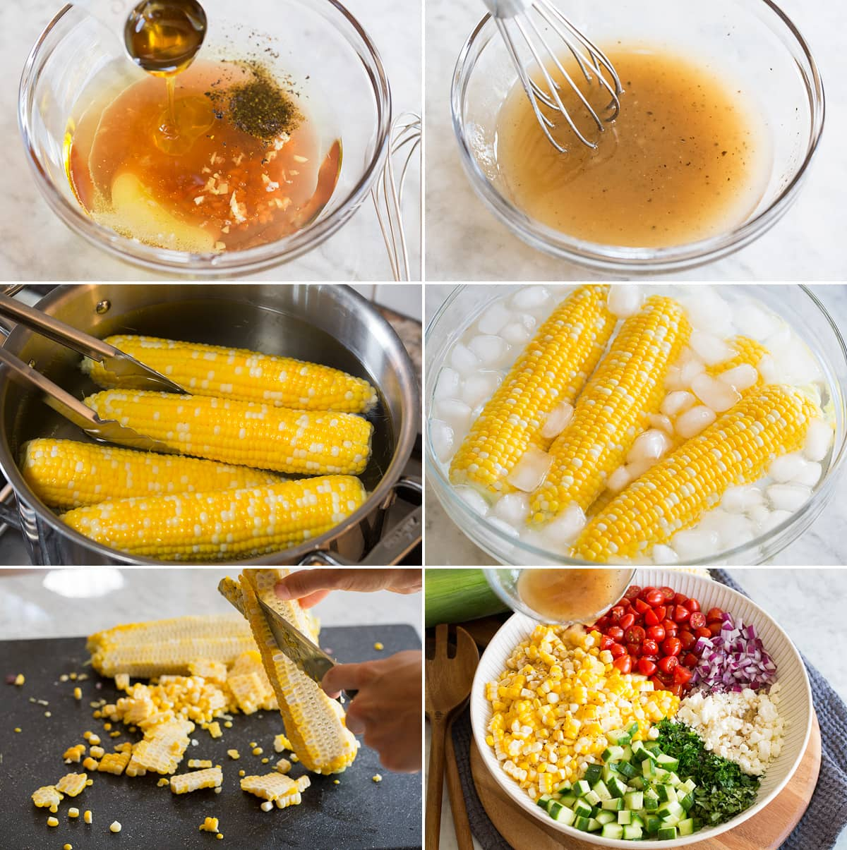 Photo: Collage of six images showing steps of making dressing for corn salad. Boiling corn salad then cooling in ice water. Cutting corn kernels from cob then adding all salad ingredients to a large bowl.