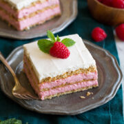 Photo: Two servings of raspberry icebox cake shown on vintage pewter plates.