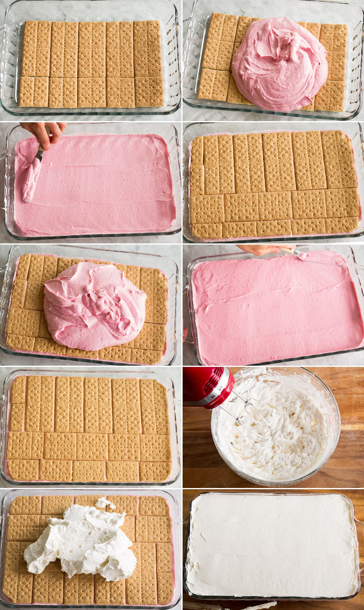 Collage of 10 images showing how to layer an icebox cake.