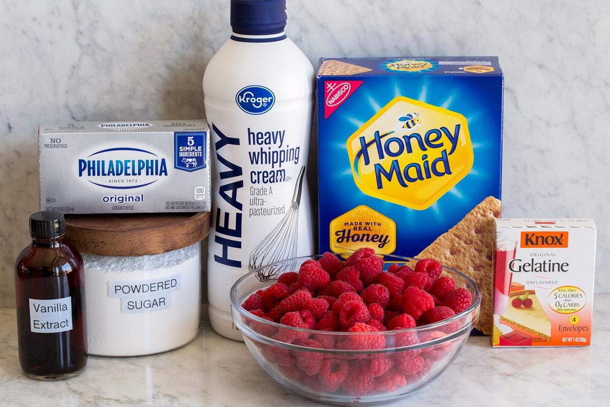 Photo of ingredients used to make raspberry icebox cake.