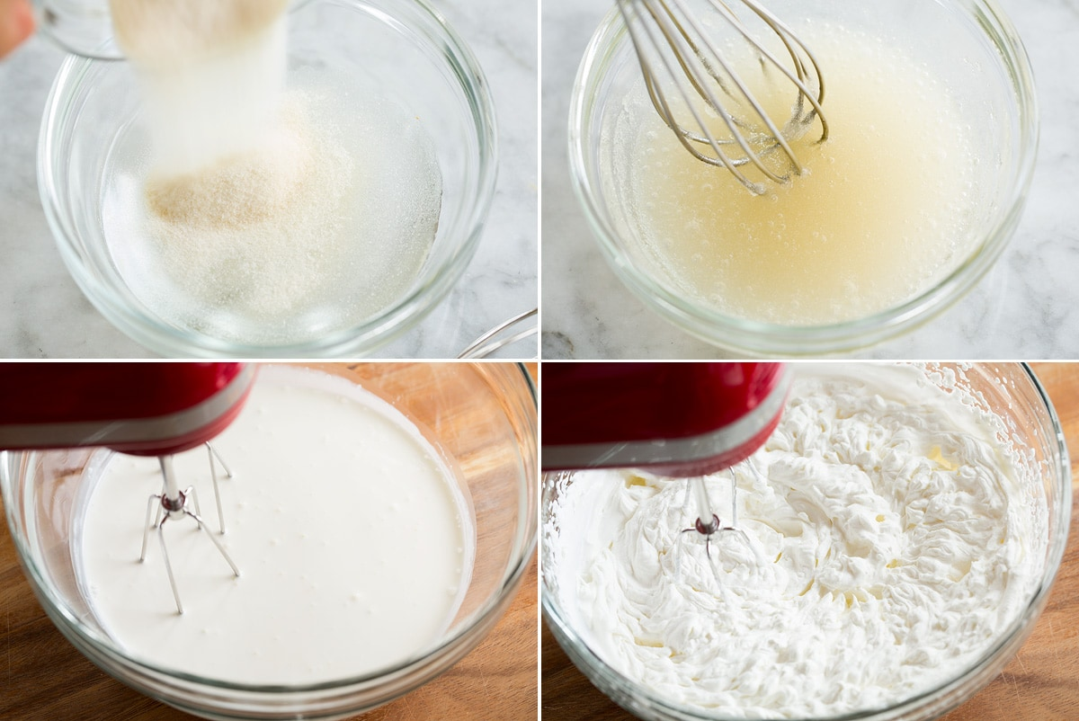 Collage of four images showing steps to making gelatin mixture and whipping heavy cream.