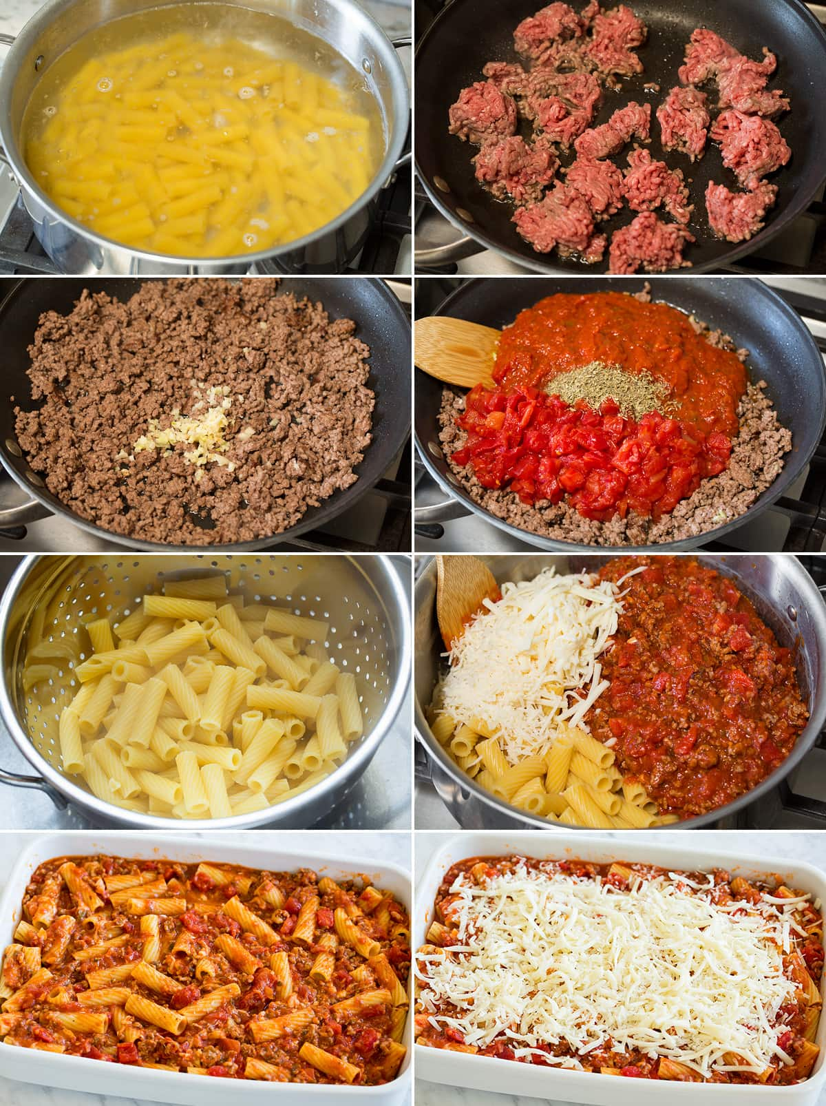 Collage of eight photos showing steps of making rigatoni. Includes boiling pasta, cooking beef, mixing pasta cheese and sauce, spreading into a baking dish and baking.