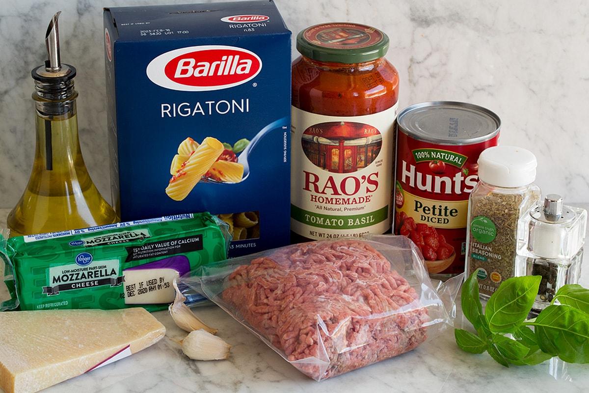 Ingredients used to make baked rigatoni.