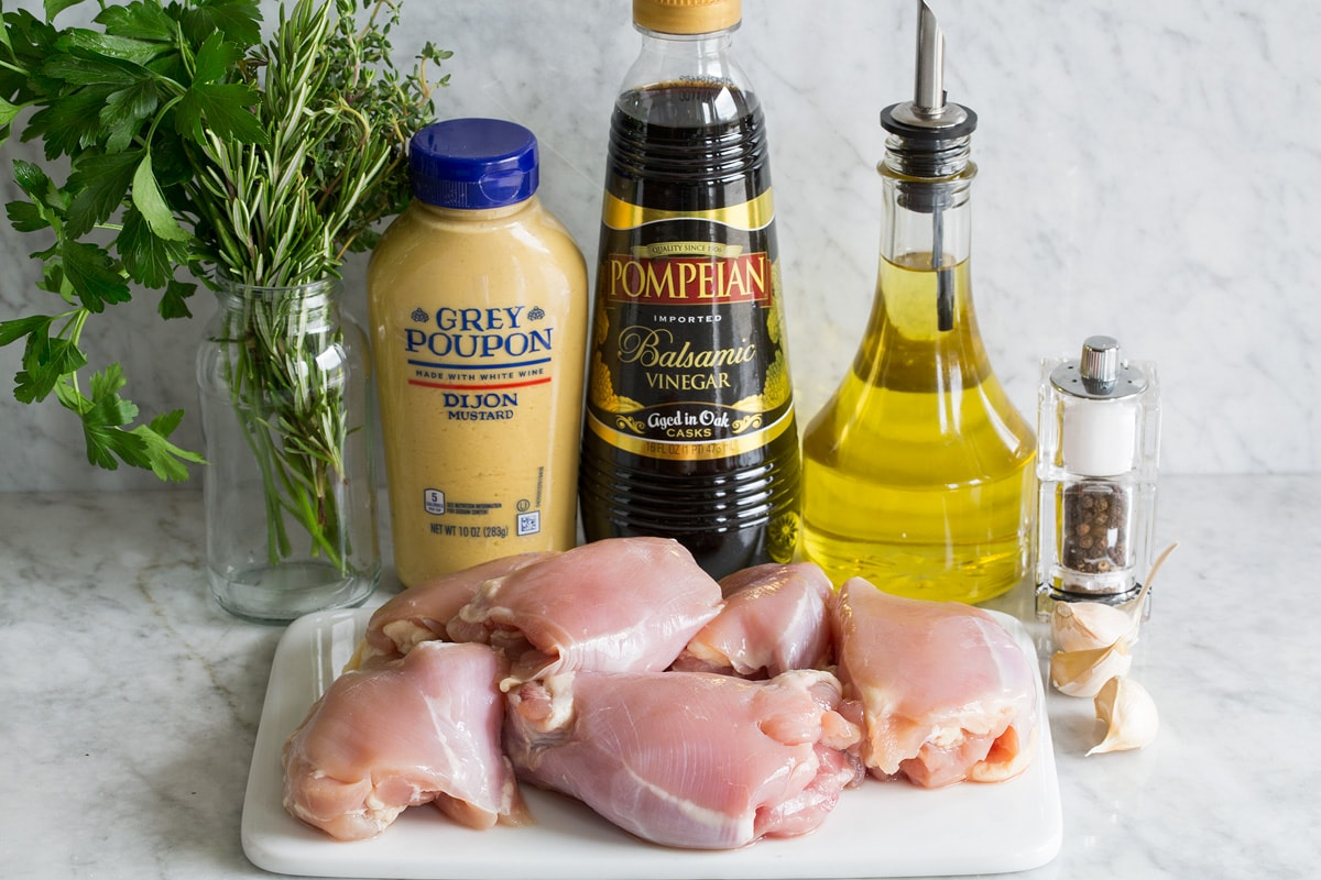 Photo: Ingredients needed to make balsamic chicken shown.